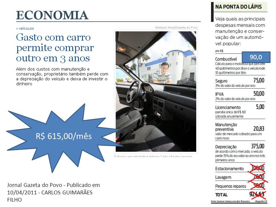 Jornal Gazeta do Povo - Publicado em 10/04/2011 - CARLOS GUIMARÃES FILHO 90,0 R$ 615,00/mês