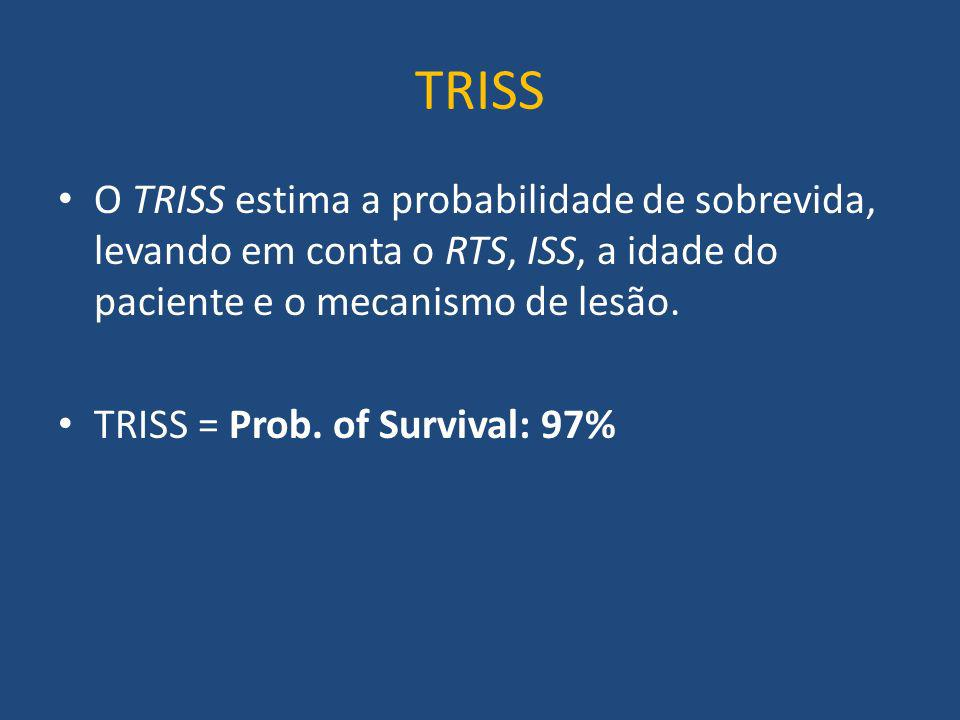 TRISS O TRISS estima a probabilidade de sobrevida, levando em conta o RTS, ISS, a idade do paciente e o mecanismo de lesão.