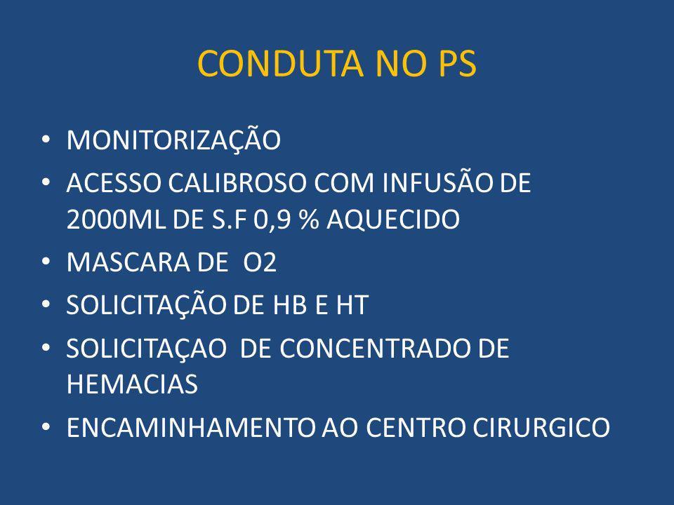 CONDUTA NO PS MONITORIZAÇÃO ACESSO CALIBROSO COM INFUSÃO DE 2000ML DE S.F 0,9 % AQUECIDO MASCARA DE O2 SOLICITAÇÃO DE HB E HT SOLICITAÇAO DE CONCENTRADO DE HEMACIAS ENCAMINHAMENTO AO CENTRO CIRURGICO