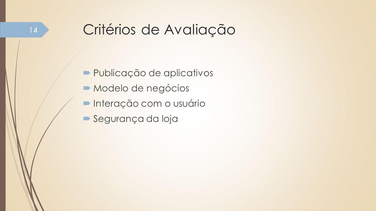 Critérios de Avaliação Publicação de aplicativos Modelo de negócios Interação com o usuário Segurança da loja 14