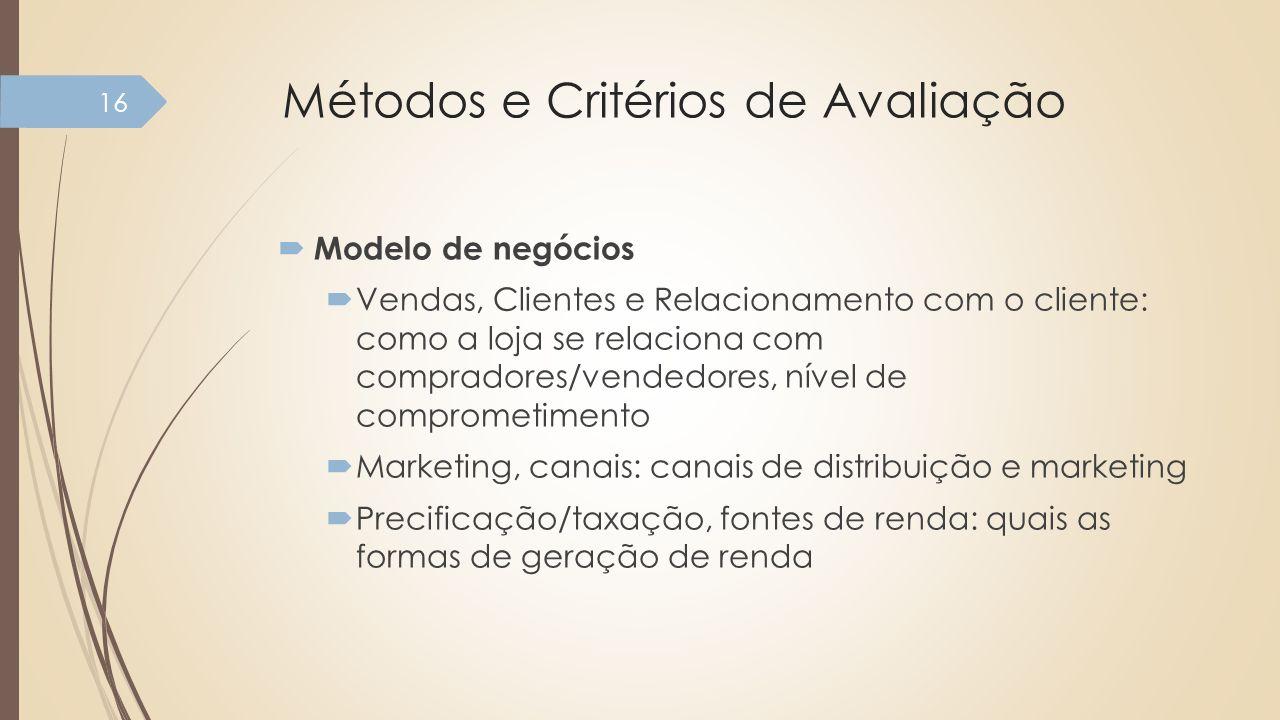Métodos e Critérios de Avaliação Modelo de negócios Vendas, Clientes e Relacionamento com o cliente: como a loja se relaciona com compradores/vendedor