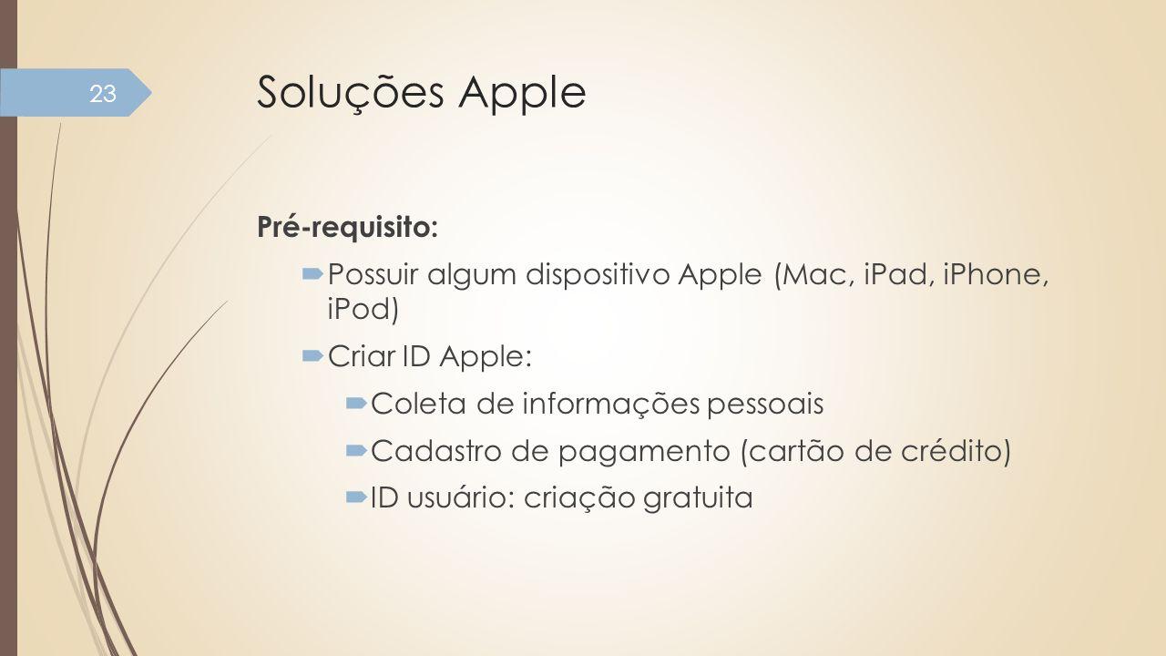 Soluções Apple Pré-requisito: Possuir algum dispositivo Apple (Mac, iPad, iPhone, iPod) Criar ID Apple: Coleta de informações pessoais Cadastro de pag