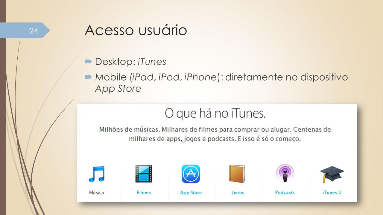 Acesso usuário Desktop: iTunes Mobile (iPad, iPod, iPhone): diretamente no dispositivo App Store 24