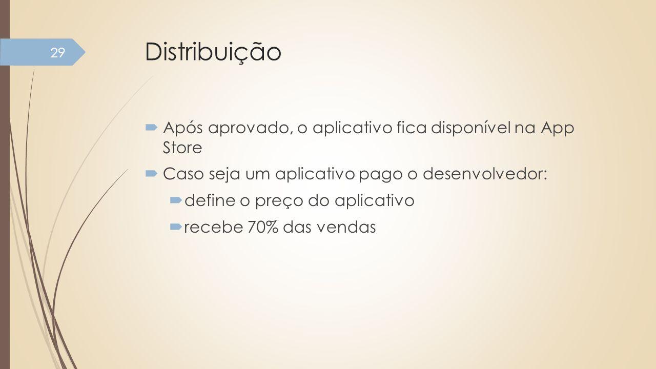 Distribuição Após aprovado, o aplicativo fica disponível na App Store Caso seja um aplicativo pago o desenvolvedor: define o preço do aplicativo receb