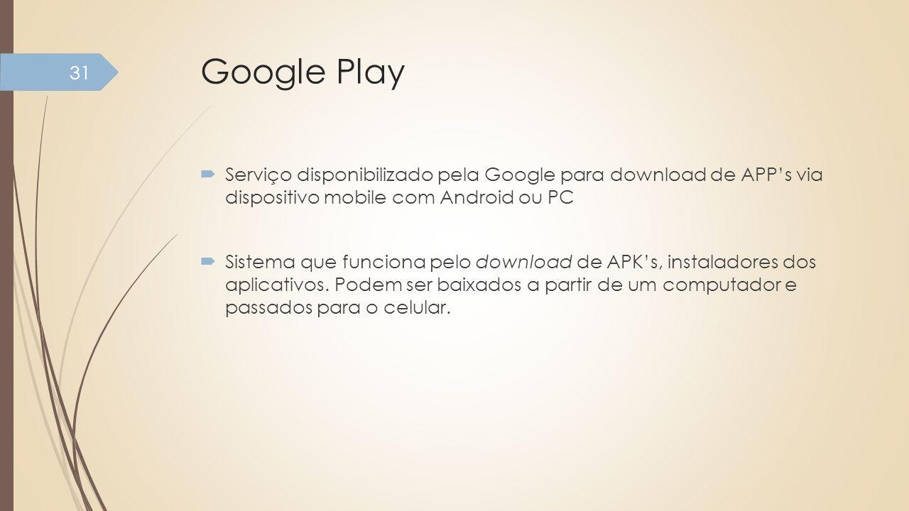 Google Play Serviço disponibilizado pela Google para download de APPs via dispositivo mobile com Android ou PC Sistema que funciona pelo download de A