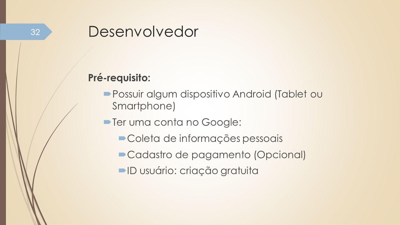 Desenvolvedor Pré-requisito: Possuir algum dispositivo Android (Tablet ou Smartphone) Ter uma conta no Google: Coleta de informações pessoais Cadastro