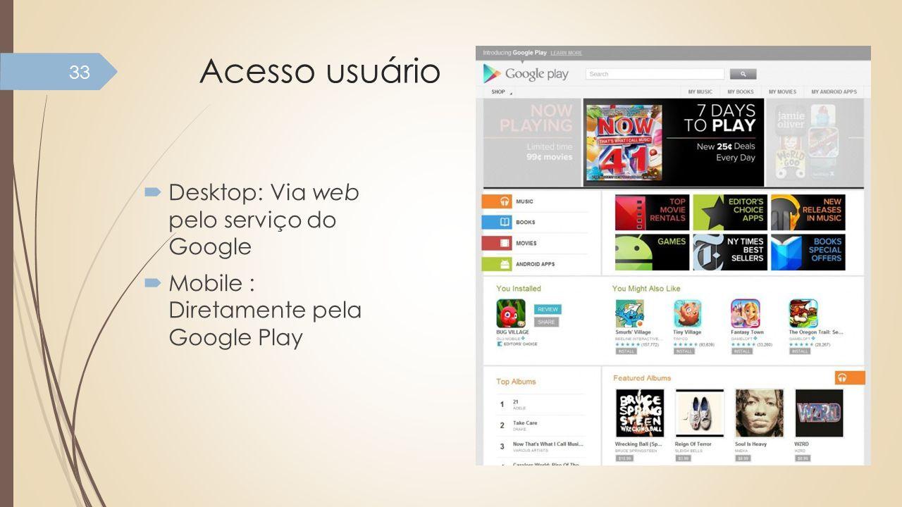 Acesso usuário Desktop: Via web pelo serviço do Google Mobile : Diretamente pela Google Play 33
