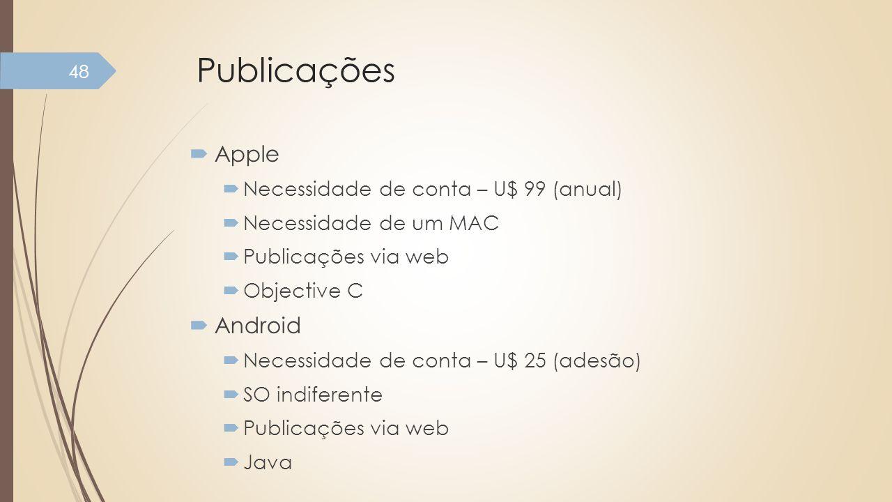 Publicações Apple Necessidade de conta – U$ 99 (anual) Necessidade de um MAC Publicações via web Objective C Android Necessidade de conta – U$ 25 (ade
