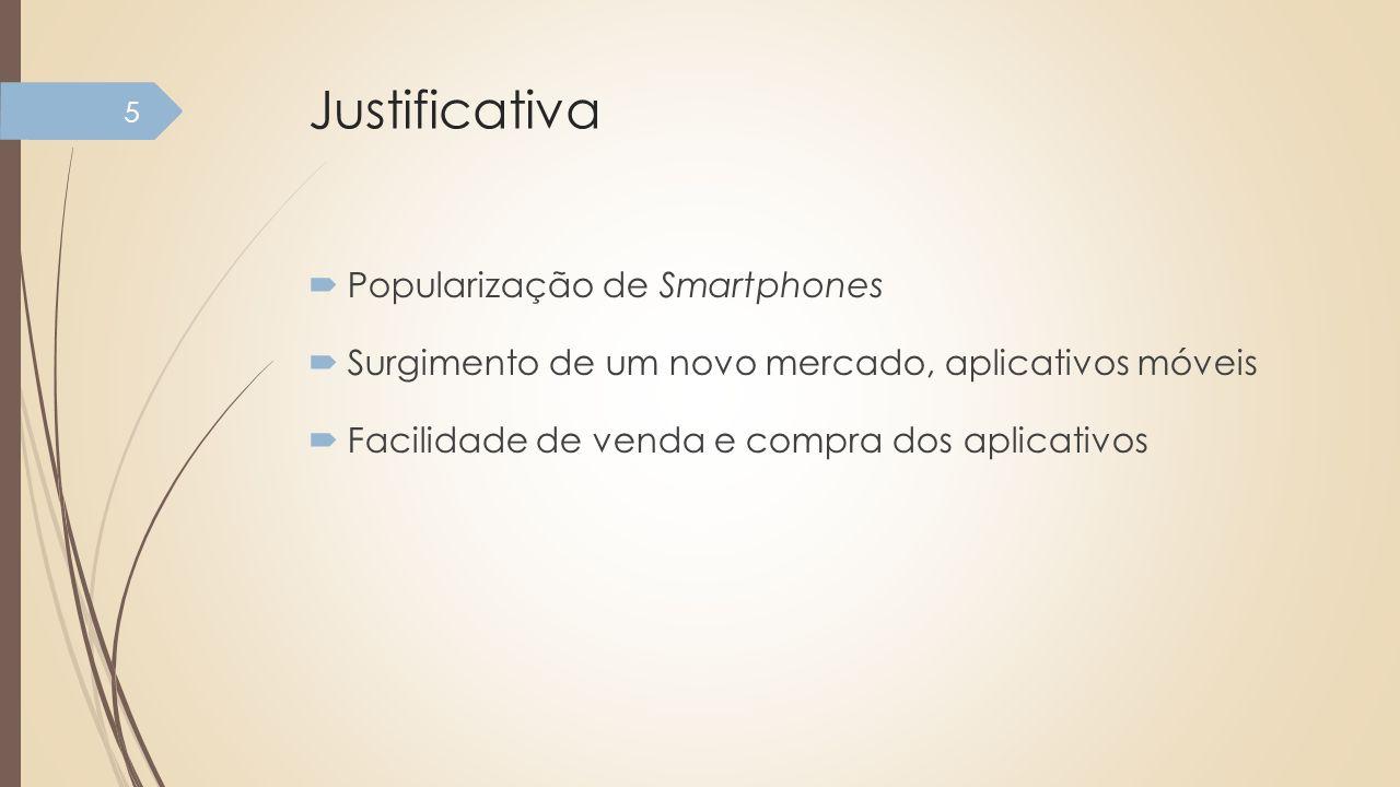 Justificativa Popularização de Smartphones Surgimento de um novo mercado, aplicativos móveis Facilidade de venda e compra dos aplicativos 5