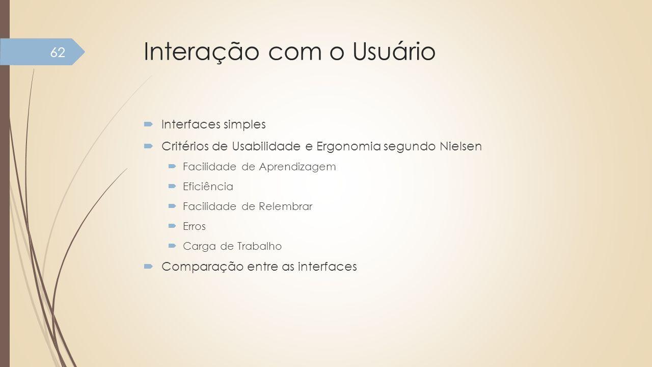 Interação com o Usuário Interfaces simples Critérios de Usabilidade e Ergonomia segundo Nielsen Facilidade de Aprendizagem Eficiência Facilidade de Re