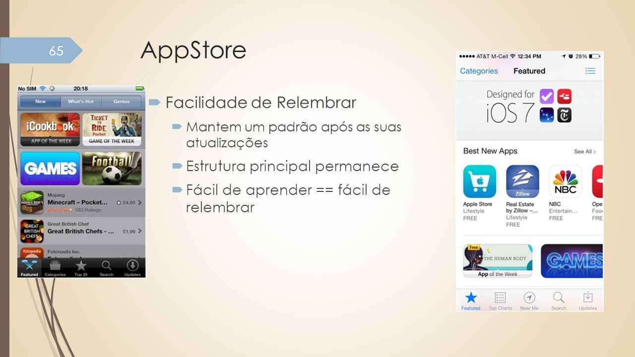 AppStore Facilidade de Relembrar Mantem um padrão após as suas atualizações Estrutura principal permanece Fácil de aprender == fácil de relembrar 65