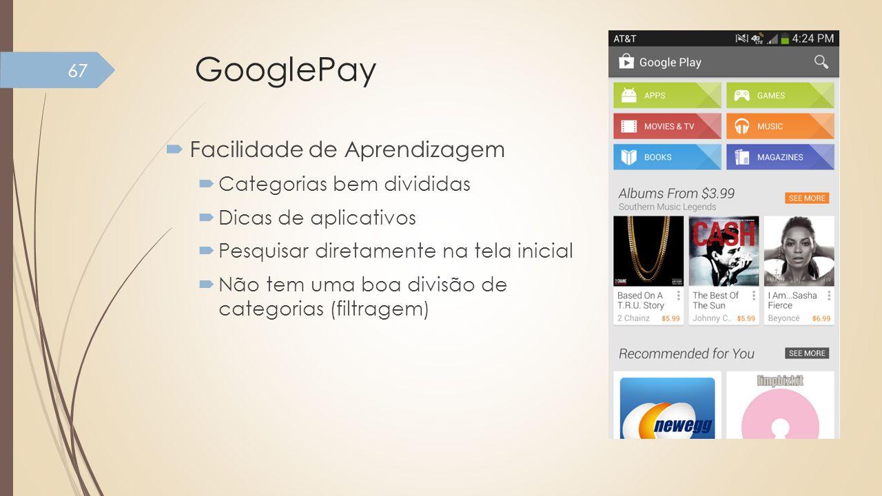 GooglePay Facilidade de Aprendizagem Categorias bem divididas Dicas de aplicativos Pesquisar diretamente na tela inicial Não tem uma boa divisão de ca
