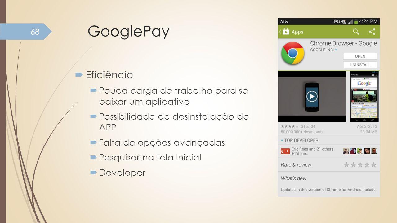 GooglePay Eficiência Pouca carga de trabalho para se baixar um aplicativo Possibilidade de desinstalação do APP Falta de opções avançadas Pesquisar na
