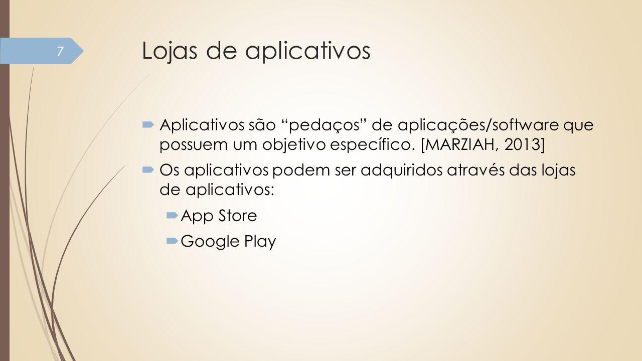 Lojas de aplicativos Aplicativos são pedaços de aplicações/software que possuem um objetivo específico. [MARZIAH, 2013] Os aplicativos podem ser adqui
