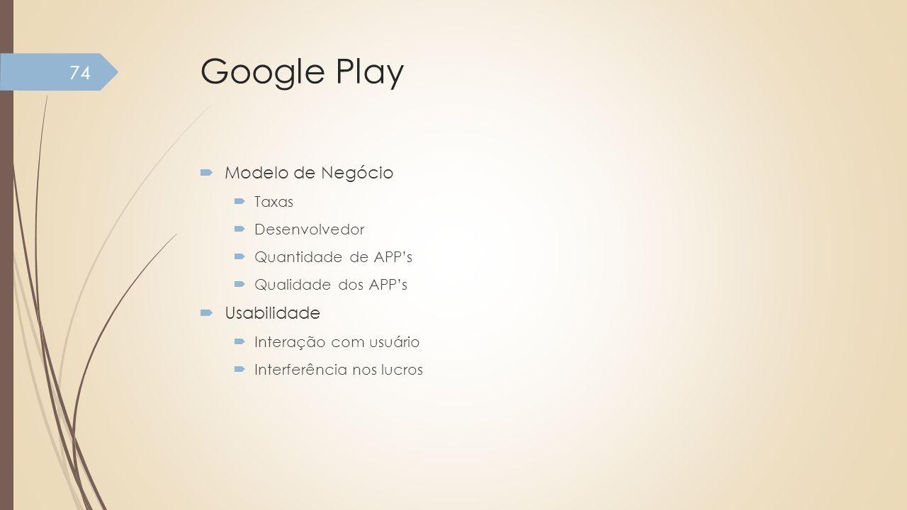 Google Play Modelo de Negócio Taxas Desenvolvedor Quantidade de APPs Qualidade dos APPs Usabilidade Interação com usuário Interferência nos lucros 74