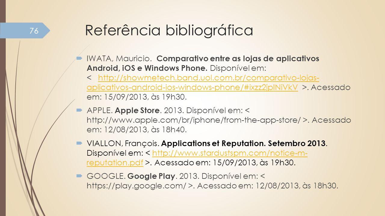 Referência bibliográfica IWATA, Mauricio. Comparativo entre as lojas de aplicativos Android, iOS e Windows Phone. Disponível em:. Acessado em: 15/09/2