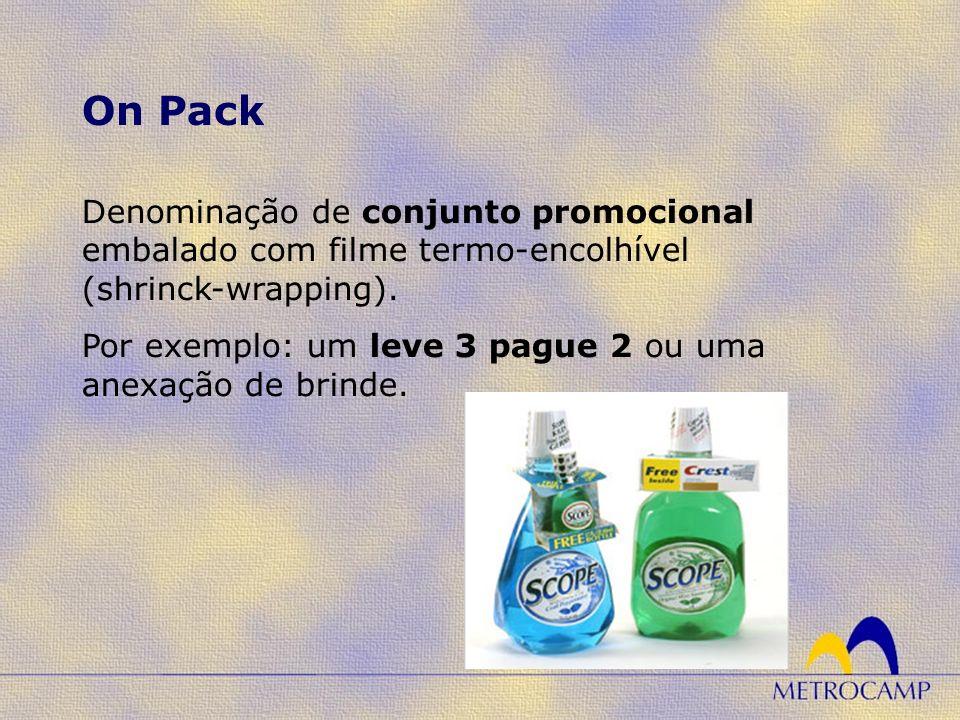 Denominação de conjunto promocional embalado com filme termo-encolhível (shrinck-wrapping). Por exemplo: um leve 3 pague 2 ou uma anexação de brinde.