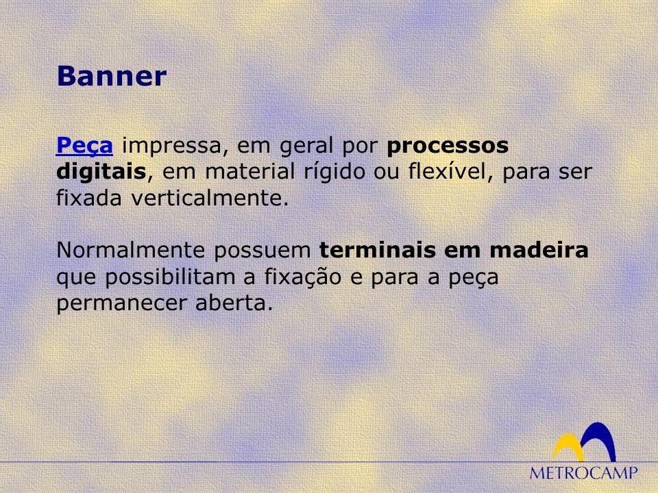 PeçaPeça impressa, em geral por processos digitais, em material rígido ou flexível, para ser fixada verticalmente. Normalmente possuem terminais em ma