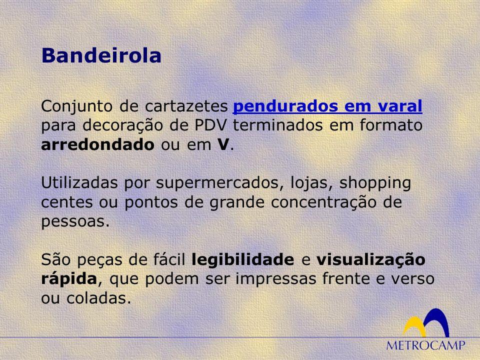 Conjunto de cartazetes pendurados em varal para decoração de PDV terminados em formato arredondado ou em V. Utilizadas por supermercados, lojas, shopp