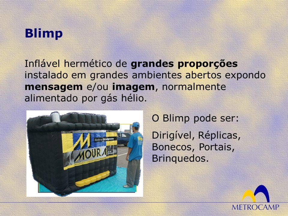 Inflável hermético de grandes proporções instalado em grandes ambientes abertos expondo mensagem e/ou imagem, normalmente alimentado por gás hélio. Bl