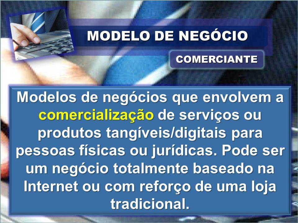 MODELO DE NEGÓCIO COMERCIANTECOMERCIANTE Modelos de negócios que envolvem a comercialização de serviços ou produtos tangíveis/digitais para pessoas fí