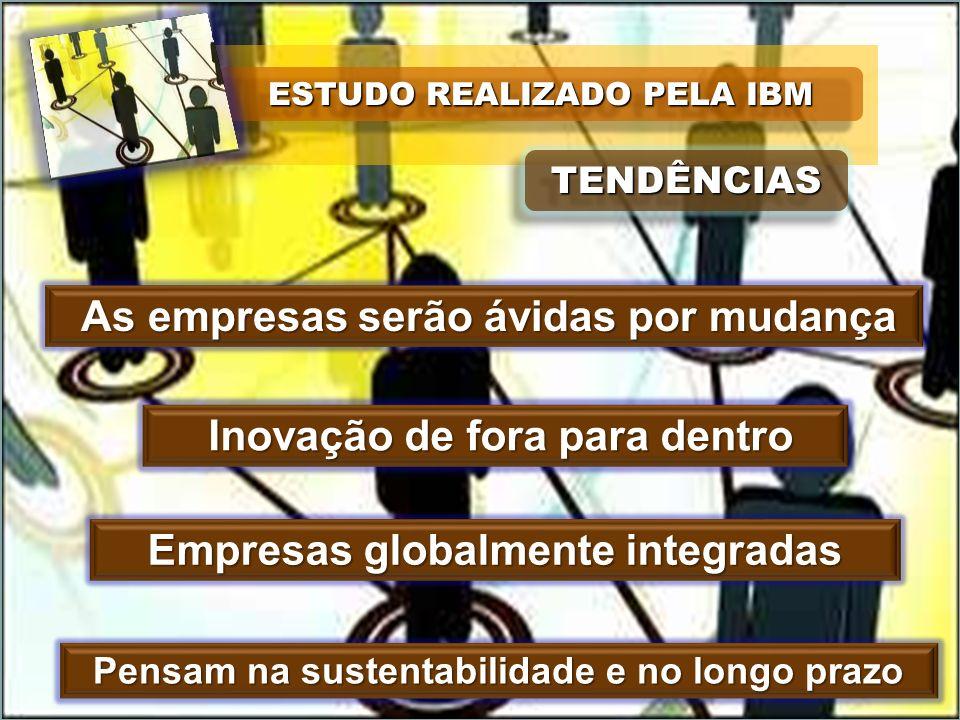 ESTUDO REALIZADO PELA IBM TENDÊNCIASTENDÊNCIAS As empresas serão ávidas por mudança As empresas serão ávidas por mudança Inovação de fora para dentro