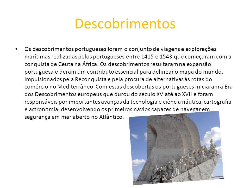 Descobrimentos Os descobrimentos portugueses foram o conjunto de viagens e explorações marítimas realizadas pelos portugueses entre 1415 e 1543 que co