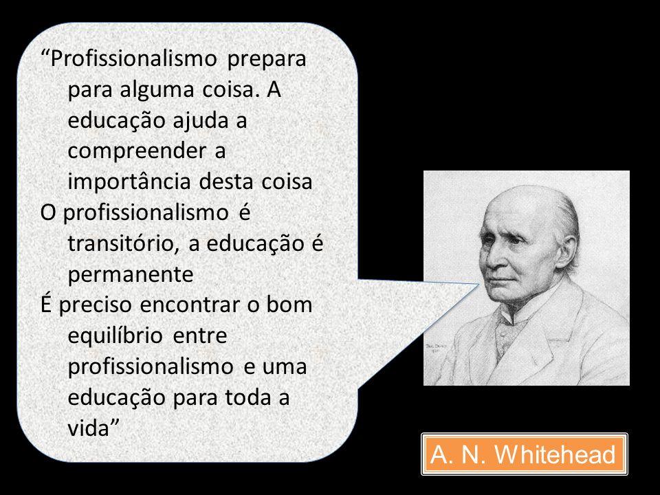 A. N. Whitehead Profissionalismo prepara para alguma coisa. A educação ajuda a compreender a importância desta coisa O profissionalismo é transitório,