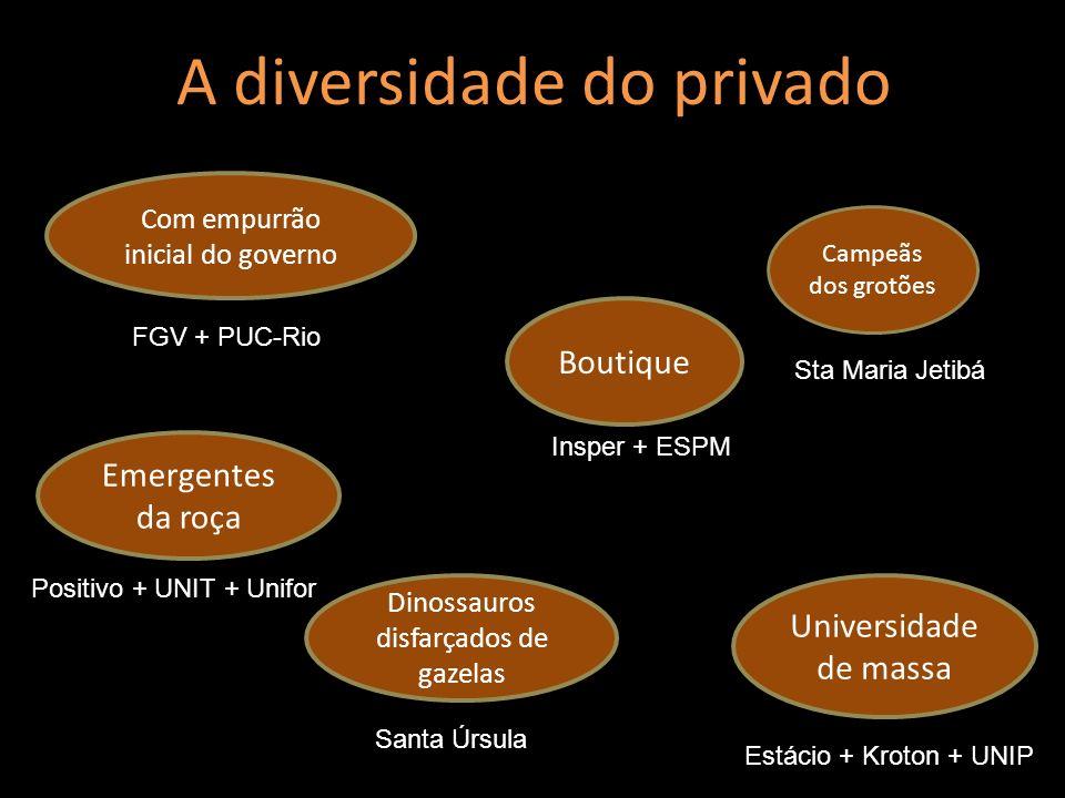 A diversidade do privado Universidade de massa Boutique Emergentes da roça Com empurrão inicial do governo Campeãs dos grotões Dinossauros disfarçados