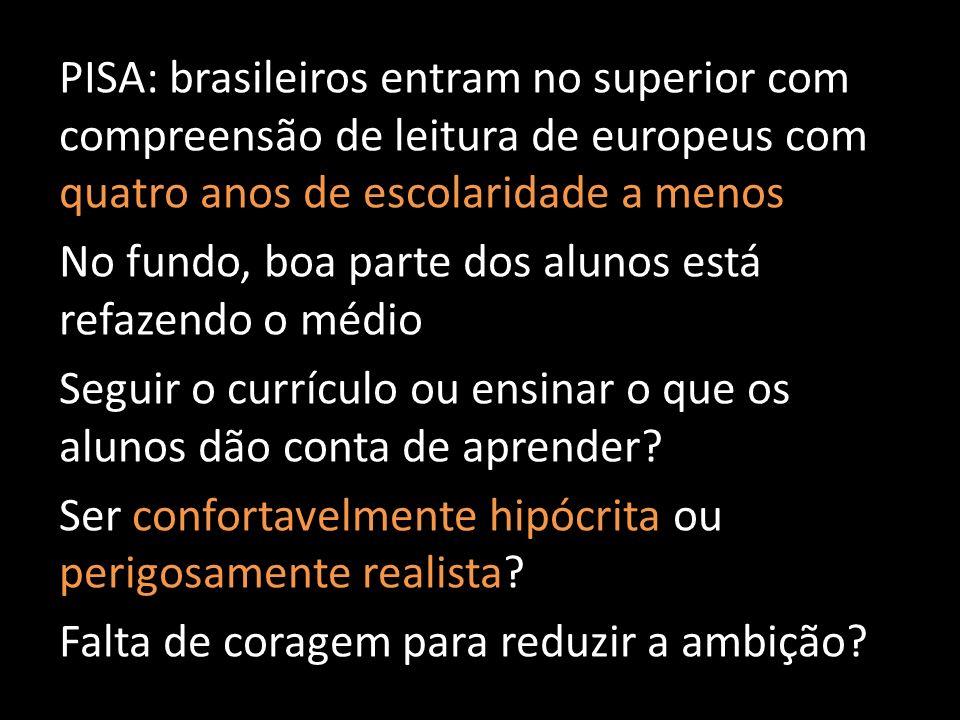 PISA: brasileiros entram no superior com compreensão de leitura de europeus com quatro anos de escolaridade a menos No fundo, boa parte dos alunos est