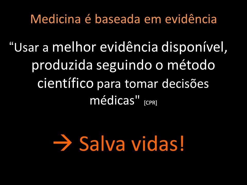 Medicina é baseada em evidência Usar a melhor evidência disponível, produzida seguindo o método científico para tomar decisões médicas