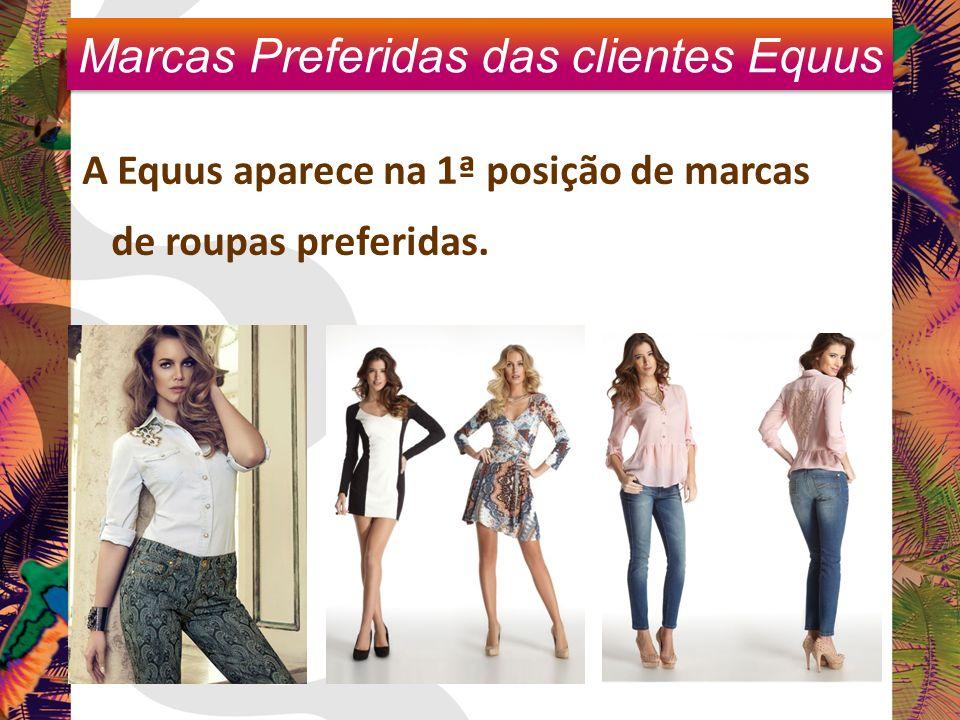 A Equus aparece na 1ª posição de marcas de roupas preferidas. Marcas Preferidas das clientes Equus
