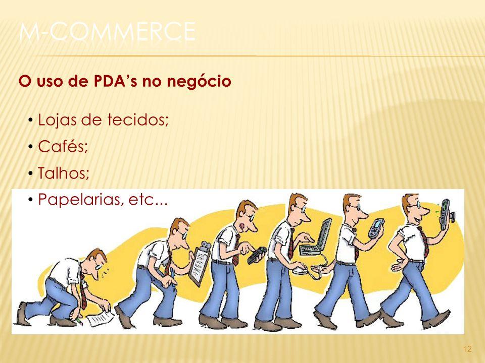 12 O uso de PDAs no negócio Lojas de tecidos; Cafés; Talhos; Papelarias, etc...