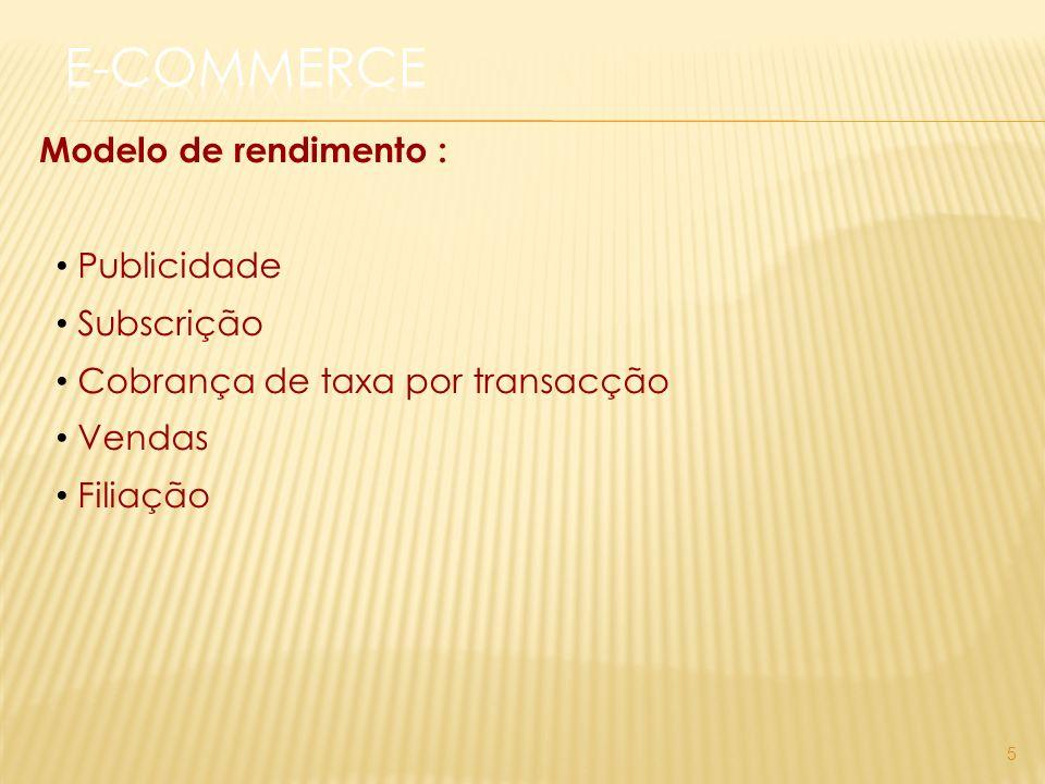 Modelo de rendimento : Publicidade Subscrição Cobrança de taxa por transacção Vendas Filiação 5