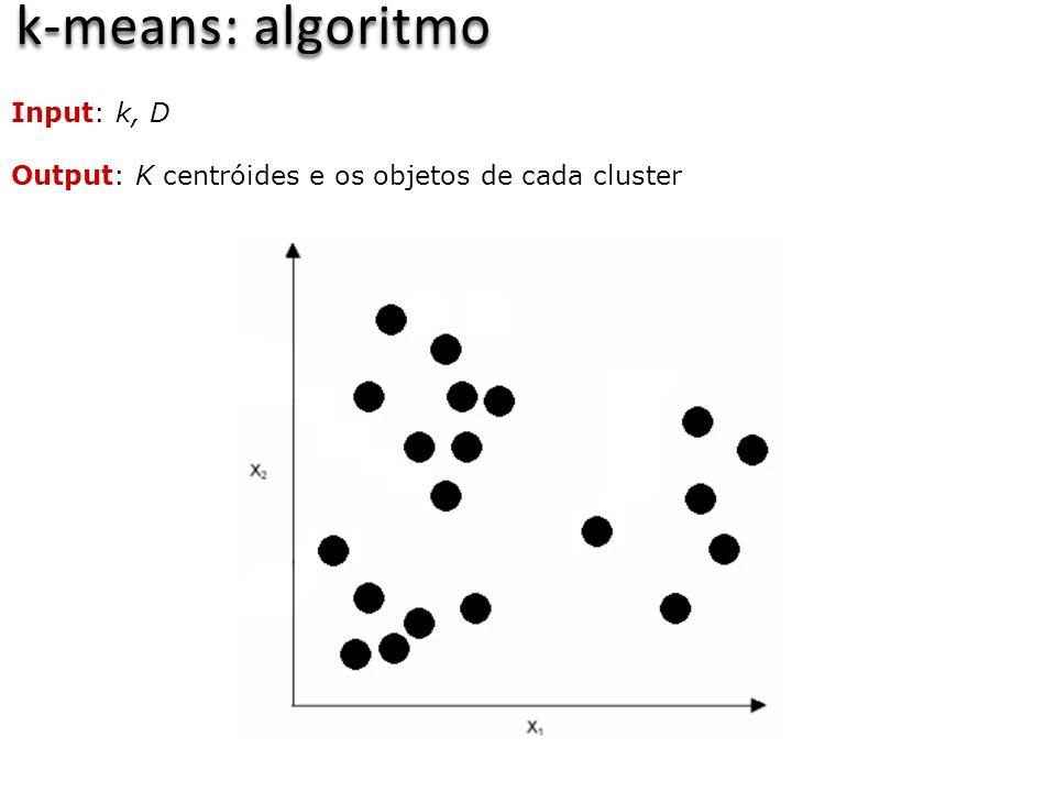 k-means: algoritmo Input: k, D Output: K centróides e os objetos de cada cluster