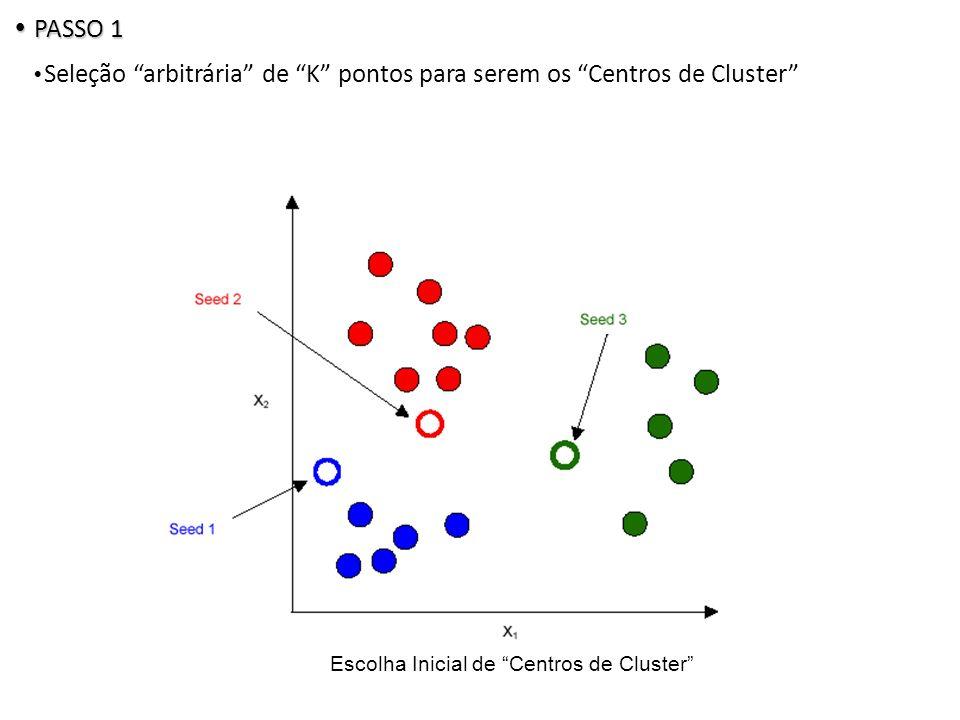Escolha Inicial de Centros de Cluster PASSO 1 PASSO 1 Seleção arbitrária de K pontos para serem os Centros de Cluster