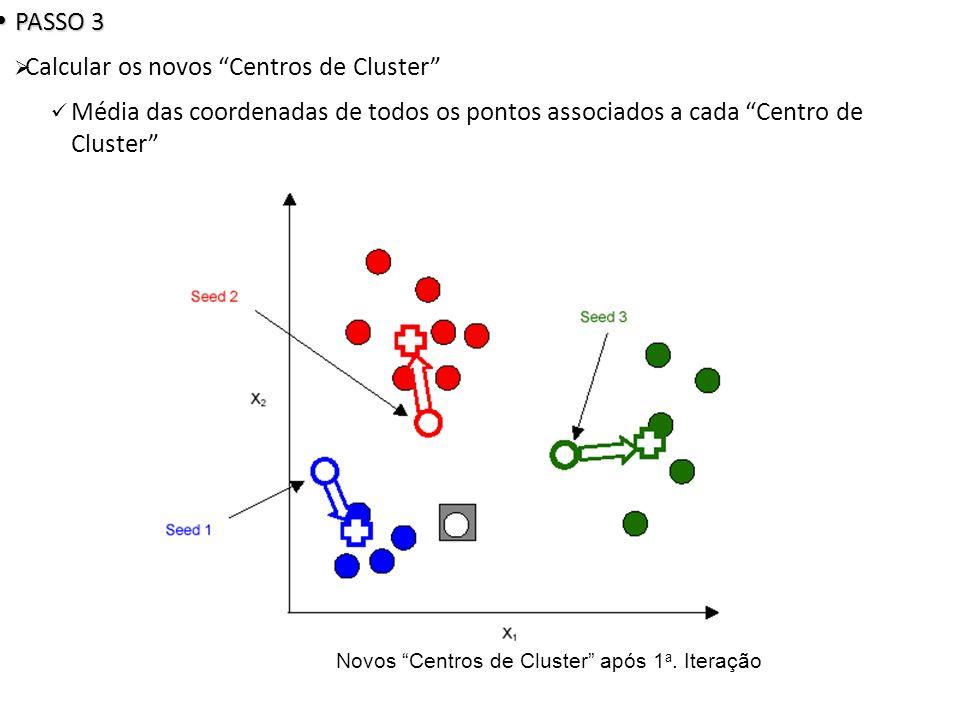 Novos Centros de Cluster após 1 a. Iteração PASSO 3 PASSO 3 Calcular os novos Centros de Cluster Média das coordenadas de todos os pontos associados a