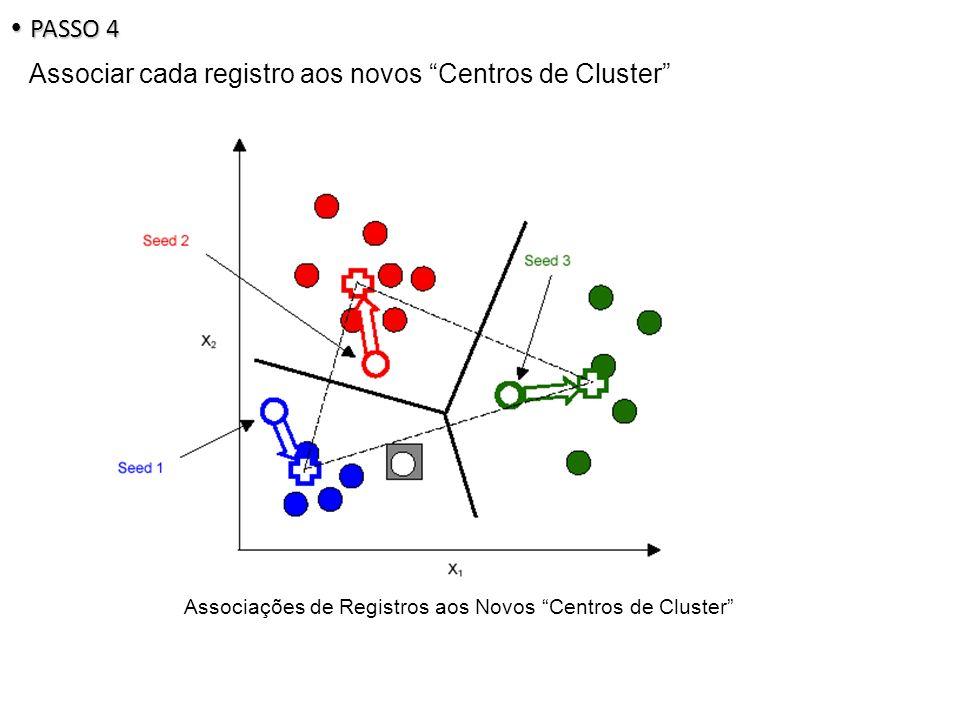 Associações de Registros aos Novos Centros de Cluster PASSO 4 PASSO 4 Associar cada registro aos novos Centros de Cluster