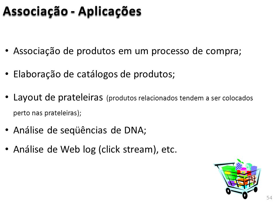Associação - Aplicações Associação de produtos em um processo de compra; Elaboração de catálogos de produtos; Layout de prateleiras (produtos relacionados tendem a ser colocados perto nas prateleiras); Análise de seqüências de DNA; Análise de Web log (click stream), etc.