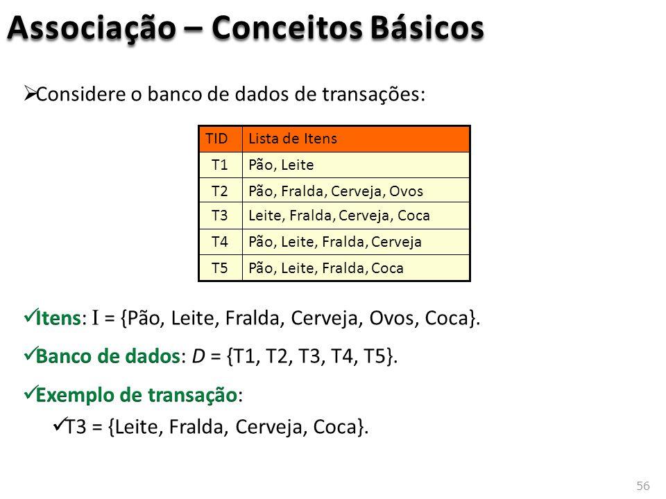 56 Associação – Conceitos Básicos Pão, Leite, Fralda, CervejaT4 Pão, Leite, Fralda, CocaT5 Leite, Fralda, Cerveja, CocaT3 Pão, Fralda, Cerveja, OvosT2 Pão, LeiteT1 Lista de ItensTID