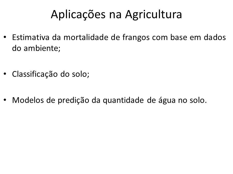 Aplicações na Agricultura Estimativa da mortalidade de frangos com base em dados do ambiente; Classificação do solo; Modelos de predição da quantidade de água no solo.