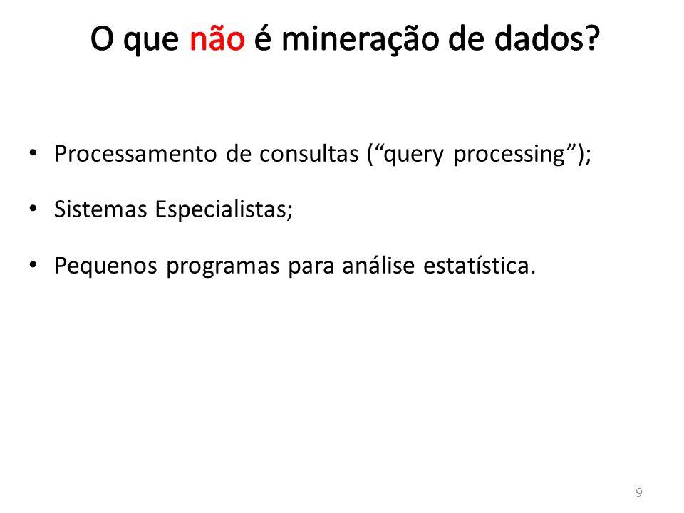 9 Processamento de consultas (query processing); Sistemas Especialistas; Pequenos programas para análise estatística.