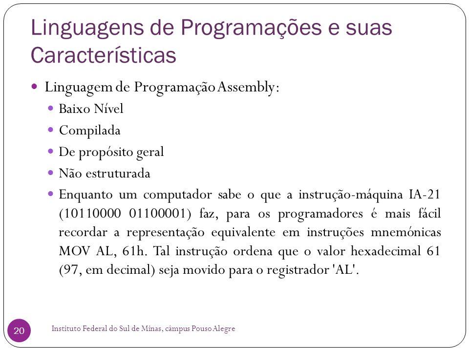 Linguagens de Programações e suas Características Instituto Federal do Sul de Minas, câmpus Pouso Alegre 20 Linguagem de Programação Assembly: Baixo N