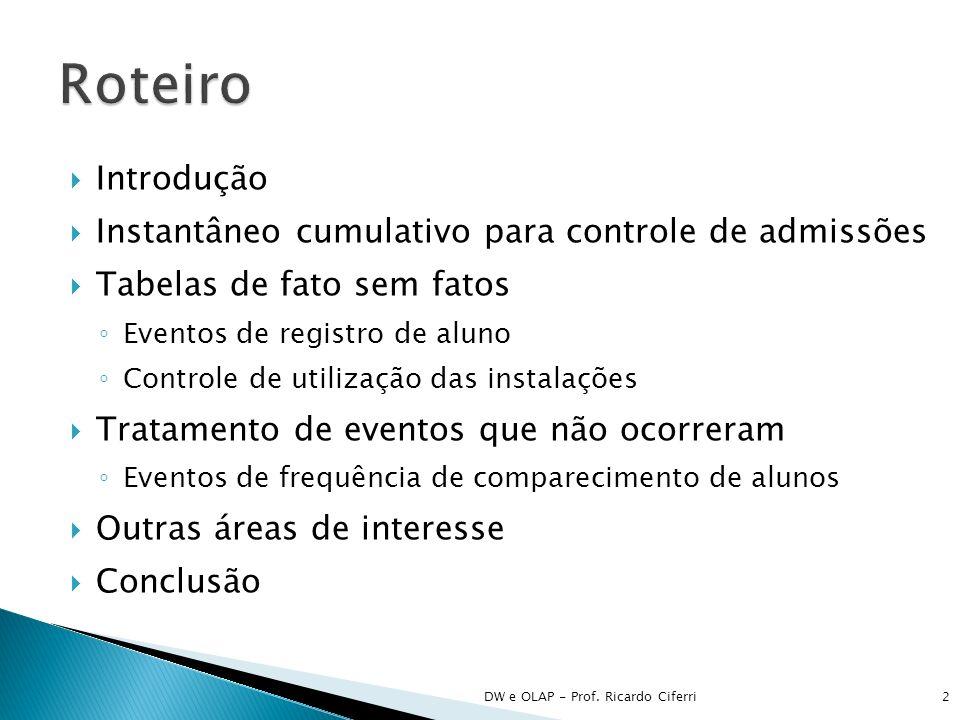 Introdução Instantâneo cumulativo para controle de admissões Tabelas de fato sem fatos Eventos de registro de aluno Controle de utilização das instala