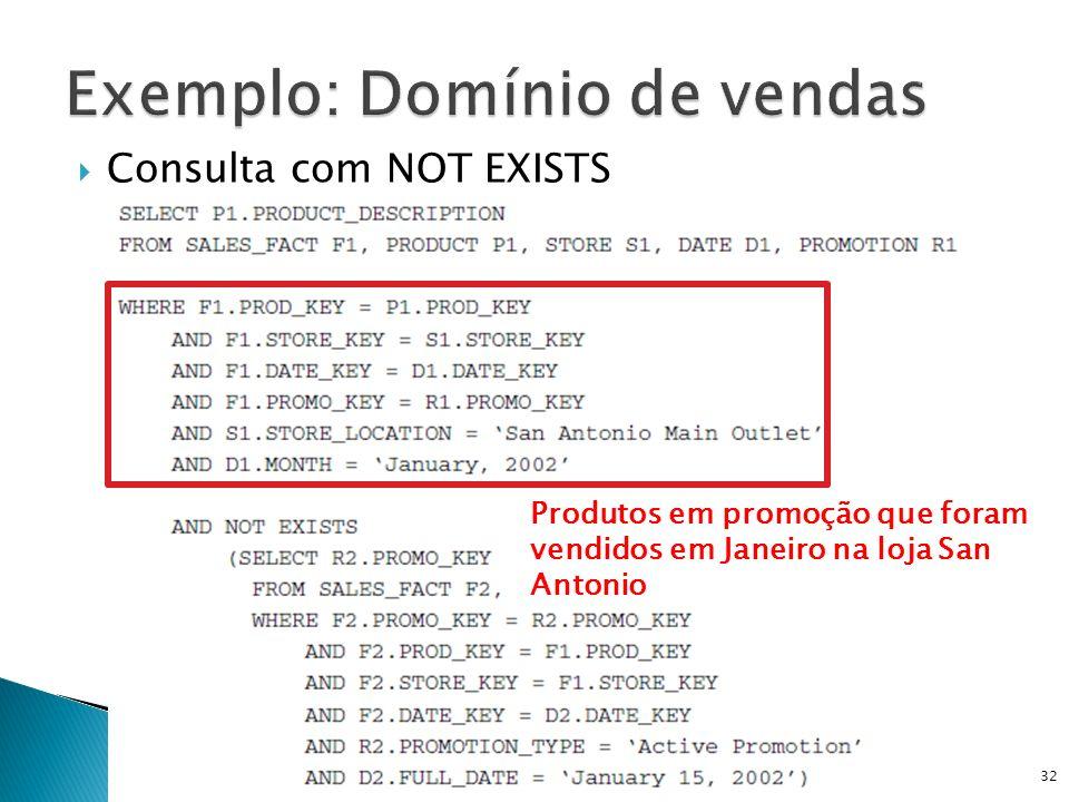Consulta com NOT EXISTS DW e OLAP - Prof. Ricardo Ciferri32 Produtos em promoção que foram vendidos em Janeiro na loja San Antonio