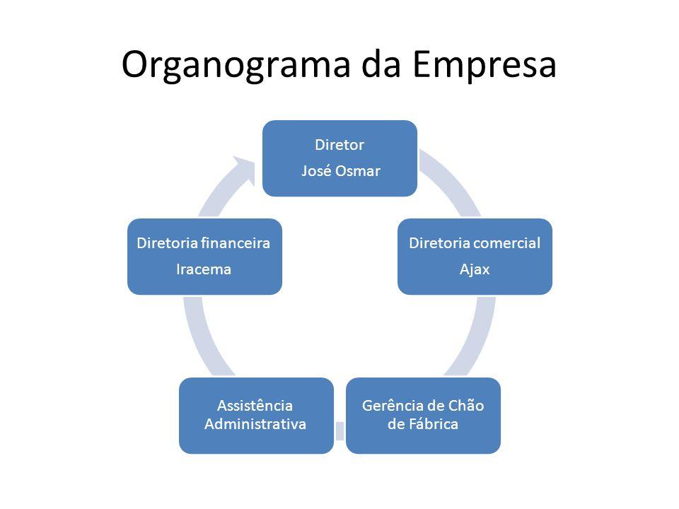 Organograma da Empresa Diretor José Osmar Diretoria comercial Ajax Gerência de Chão de Fábrica Assistência Administrativa Diretoria financeira Iracema