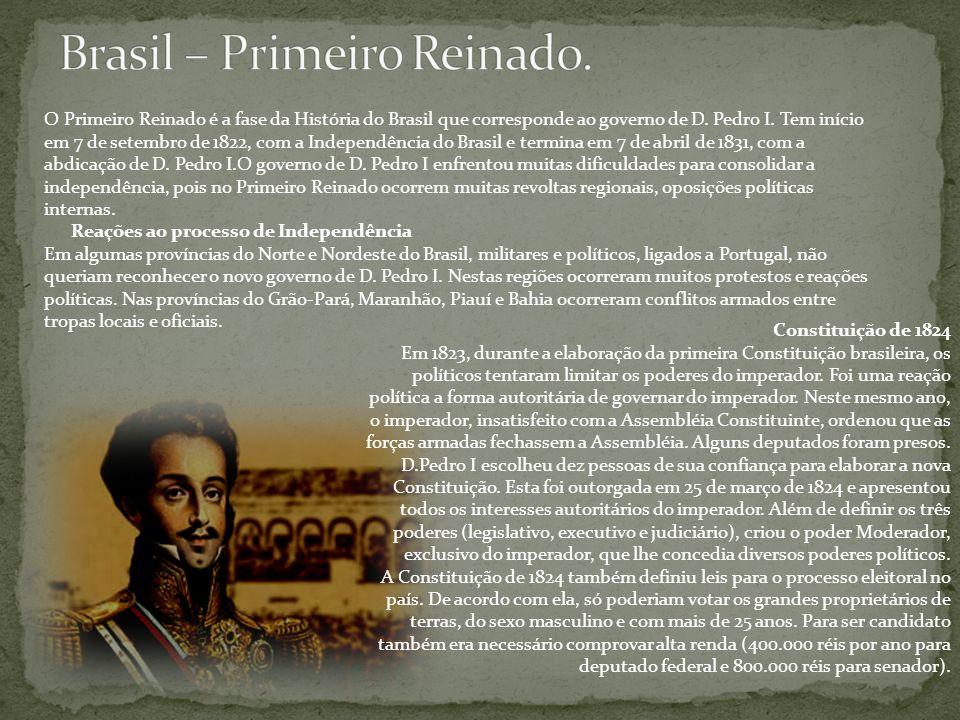 Constituição de 1824 Em 1823, durante a elaboração da primeira Constituição brasileira, os políticos tentaram limitar os poderes do imperador. Foi uma