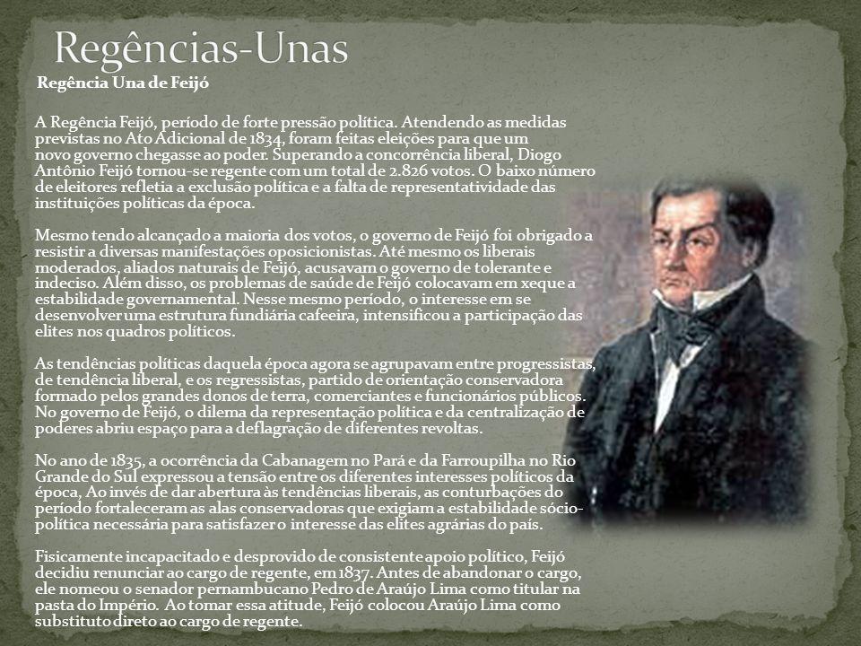 Regência Una de Feijó A Regência Feijó, período de forte pressão política. Atendendo as medidas previstas no Ato Adicional de 1834, foram feitas eleiç