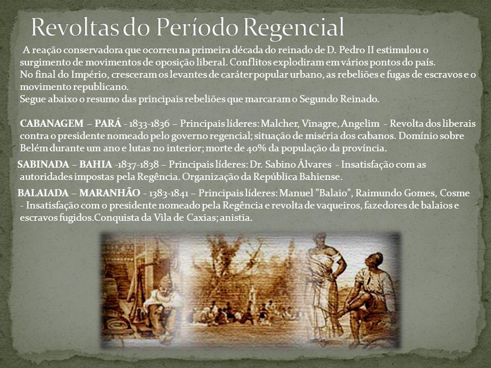 A reação conservadora que ocorreu na primeira década do reinado de D. Pedro II estimulou o surgimento de movimentos de oposição liberal. Conflitos exp