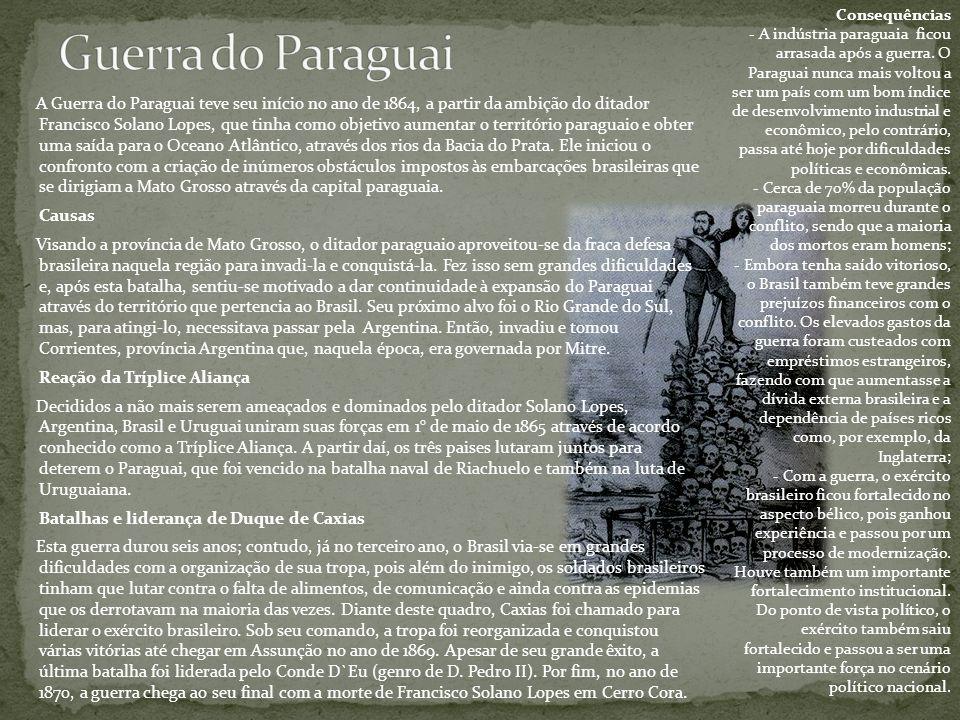 A Guerra do Paraguai teve seu início no ano de 1864, a partir da ambição do ditador Francisco Solano Lopes, que tinha como objetivo aumentar o territó